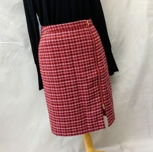 Talbots pink Tweed 3/4 pencil skirt